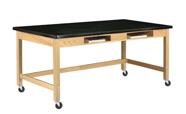 Diversified Woodcrafts Two-Book Compartment Oak Table with Solid Phenolic