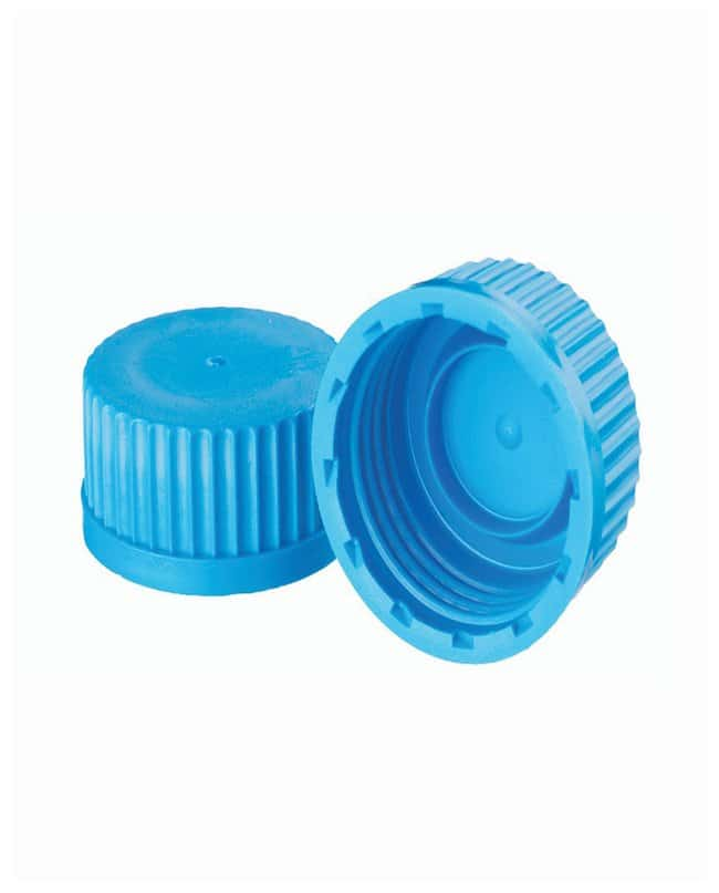 DWK Life Sciences Wheaton™ Polypropylene Caps for Lab 45 Graduated Bottles Blue; With inner sealing ring DWK Life Sciences Wheaton™ Polypropylene Caps for Lab 45 Graduated Bottles