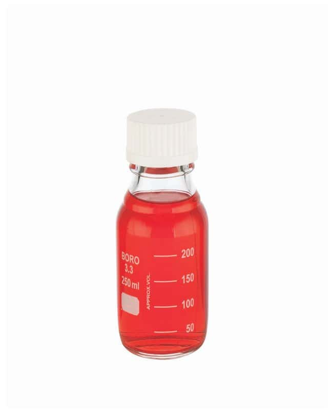 DWK Life Sciences Wheaton™ Lab 45 Graduated Bottles With Cap Attached 45mm white screw cap; 250mL DWK Life Sciences Wheaton™ Lab 45 Graduated Bottles With Cap Attached