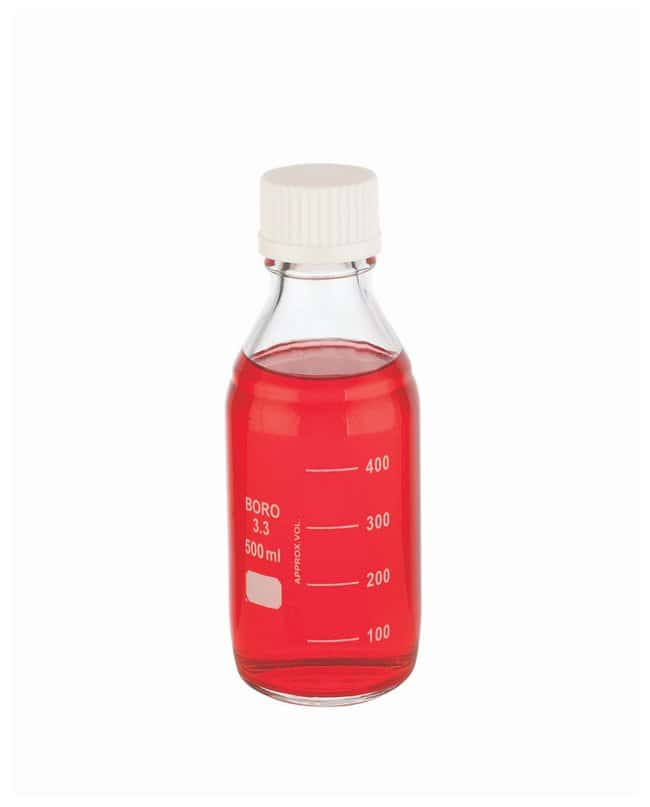 DWK Life Sciences Wheaton™ Lab 45 Graduated Bottles With Cap Attached 45mm white screw cap; 500mL DWK Life Sciences Wheaton™ Lab 45 Graduated Bottles With Cap Attached