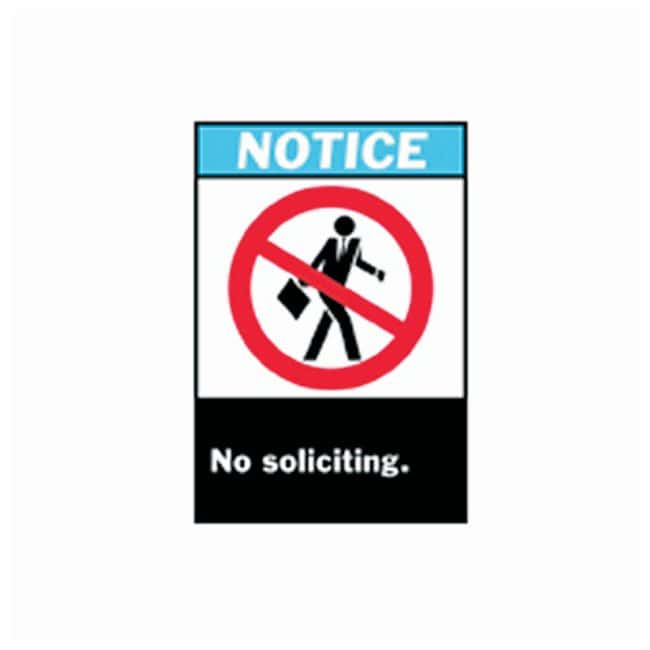 Brady™ ANSI Z535 Safety Signs: No Soliciting