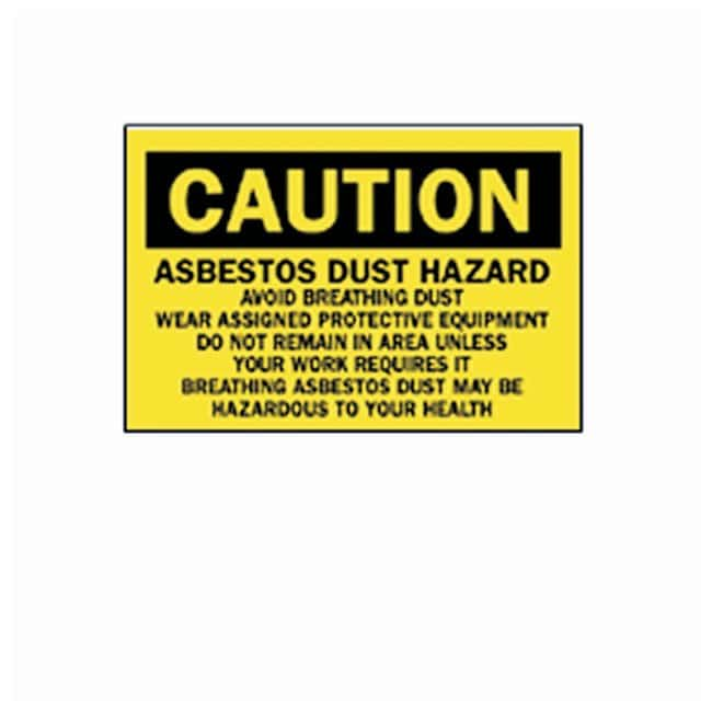 Brady Caution Asbestos Dust Hazard L x W: 14 x 20 in.; Material: Fiberglass:Gloves,