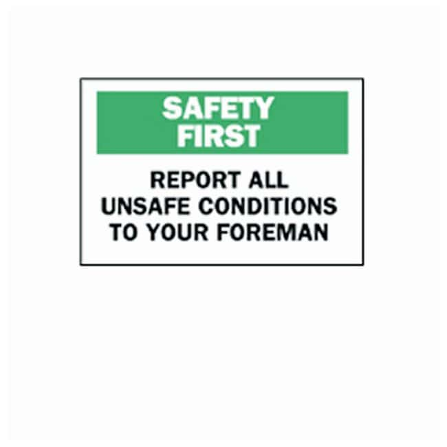 Brady Safety Slogans Signs Legend: REPORT ALL UNSAFE CONDITIONS TO YOUR