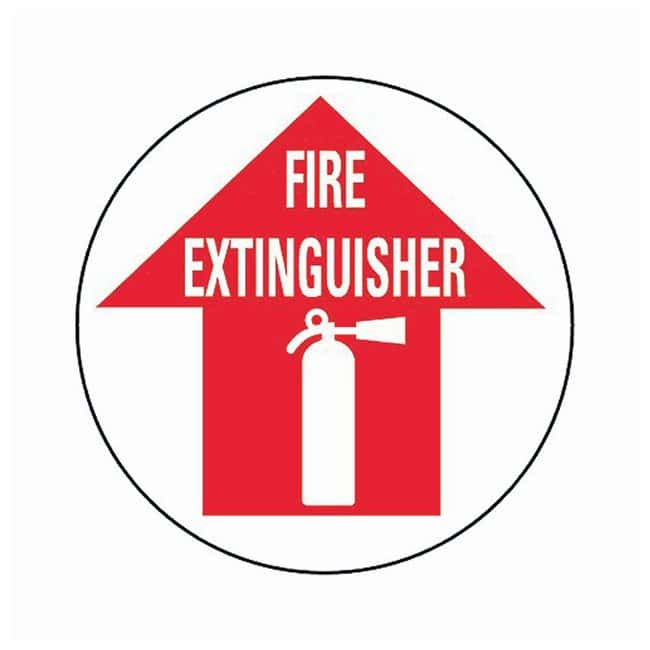 Brady Floor Safety Signs FIRE EXTINGUISHER (w/Picto); Red on white:Gloves,