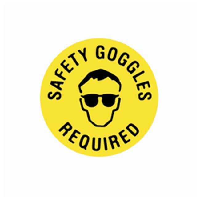 Brady Floor Safety Signs SAFETY GOGGLES REQUIRED (w/Picto); Black on yellow:Gloves,
