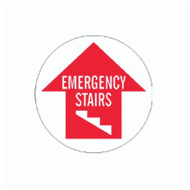 Brady Floor Safety Signs EMERGENCY STAIRS (w/Picto); Red on white:Gloves,