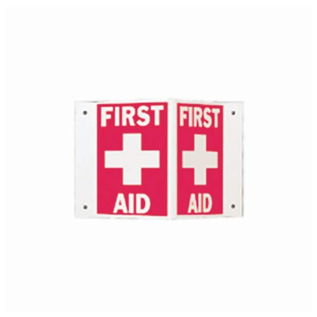 Brady High Visibility Signs - Rigid Legend: First Aid (W/PICTO):Gloves,