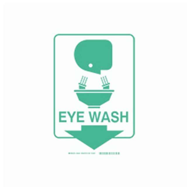 Brady High Visibility Signs - Rigid Legend: Eye Wash (W/PICTO):Gloves,