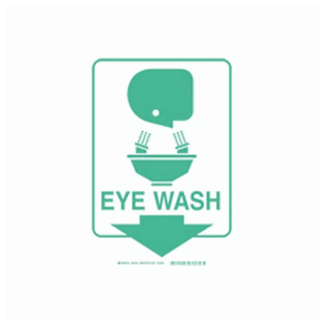 Brady High Visibility Signs - Flexible Legend: Eye Wash (W/PICTO):Gloves,