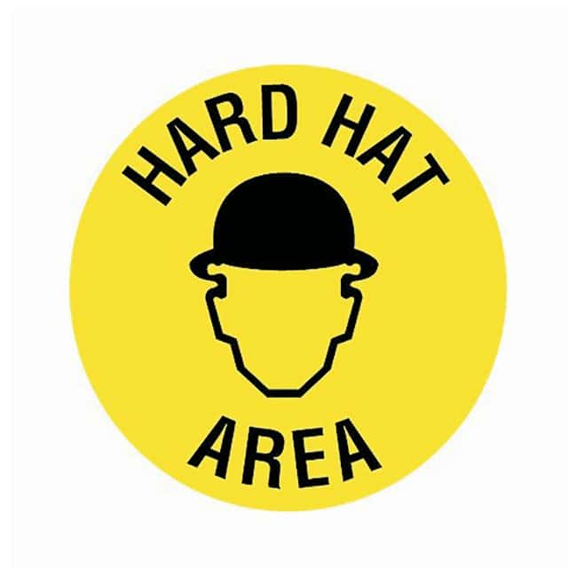 Brady Floor Safety Signs HARD HAT AREA (w/Picto); Black on yellow:Gloves,