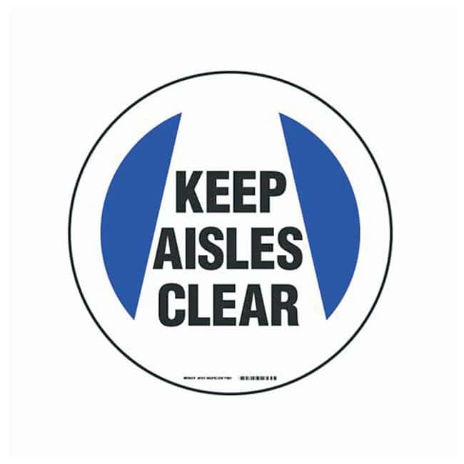 Brady Floor Safety Signs KEEP AISLES CLEAR (w/Picto); Purple/black on white:Gloves,