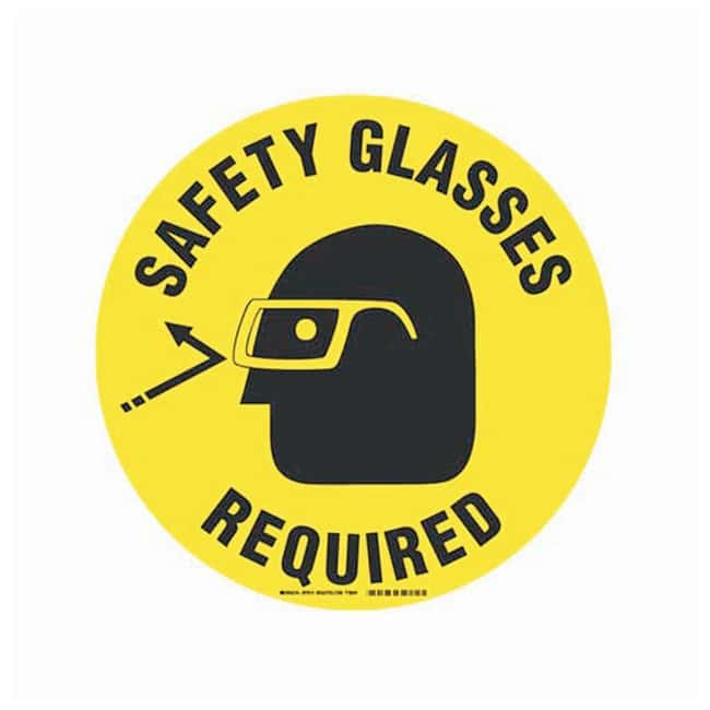 Brady Floor Safety Signs SAFETY GLASSES REQUIRED (w/Picto); Black on yellow:Gloves,