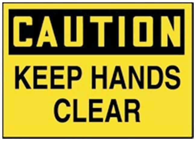 Accuform Signs Machinery and Operations Labels Legend: CAUTION Keep Hands