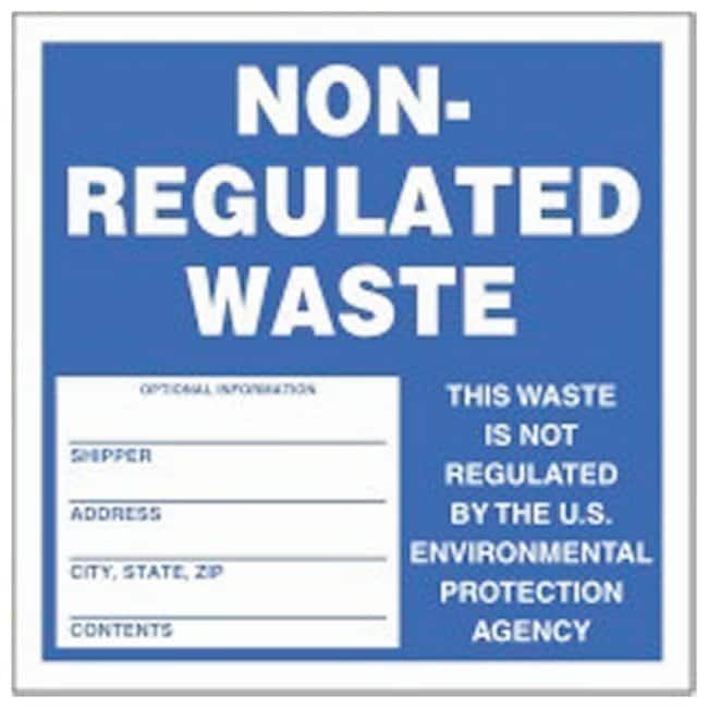 Accuform Signs Hazardous Waste Labels Legend: NON-REGULATED WASTE -- This