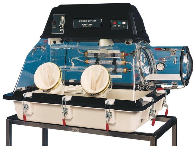 Plas Labs™Caja seca de nitrógeno modelo 850 Estación única Plas Labs™Caja seca de nitrógeno modelo 850