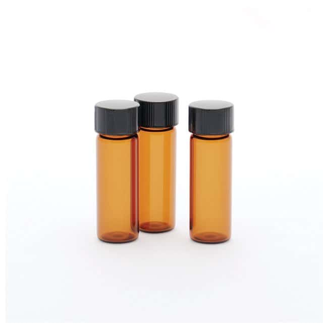 DWK Life Sciences Kimble™ AmberScrew Thread Vials w/Attached PTFE-Faced/White Rubber Lined Closures Capacity: 1 dr.; O.D. x H: 15 x 45mm DWK Life Sciences Kimble™ AmberScrew Thread Vials w/Attached PTFE-Faced/White Rubber Lined Closures