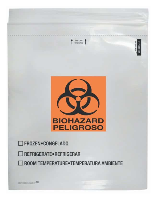 Minigrip SPECI-ZIP Reclosable Clear Biohazard Bags with Black and Orange