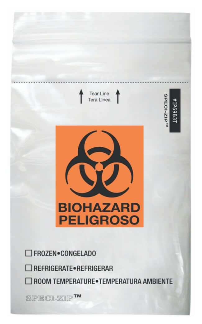Minigrip SPECI-ZIP Reclosable Clear Biohazard Bags with Black and Orange