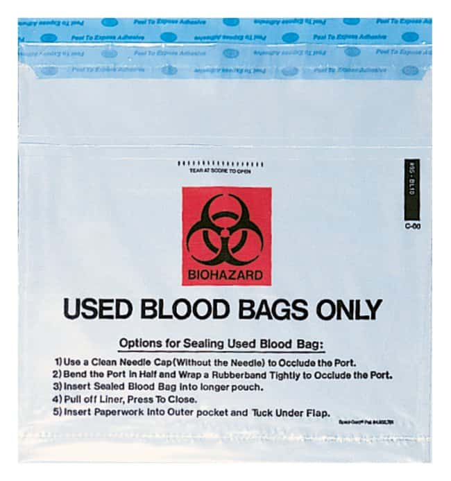 Minigrip Used IV Blood Bag Return Double Pocket Bags 10W x 10 in. H:Gloves,