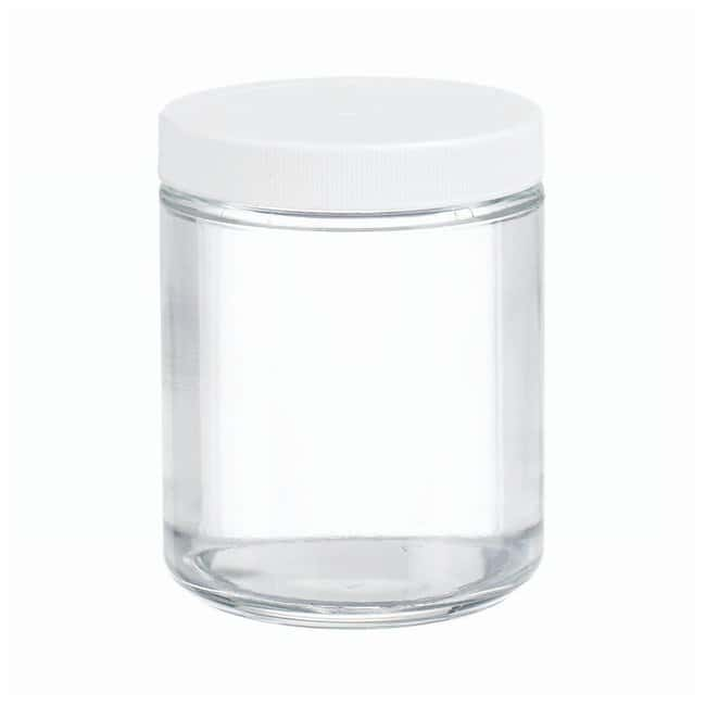 DWK Life Sciences Wheaton™ Clear Straight-Sided Jars with Polyvinyl-lined Caps Convenience pack; Capacity: 8 oz. (240mL) DWK Life Sciences Wheaton™ Clear Straight-Sided Jars with Polyvinyl-lined Caps