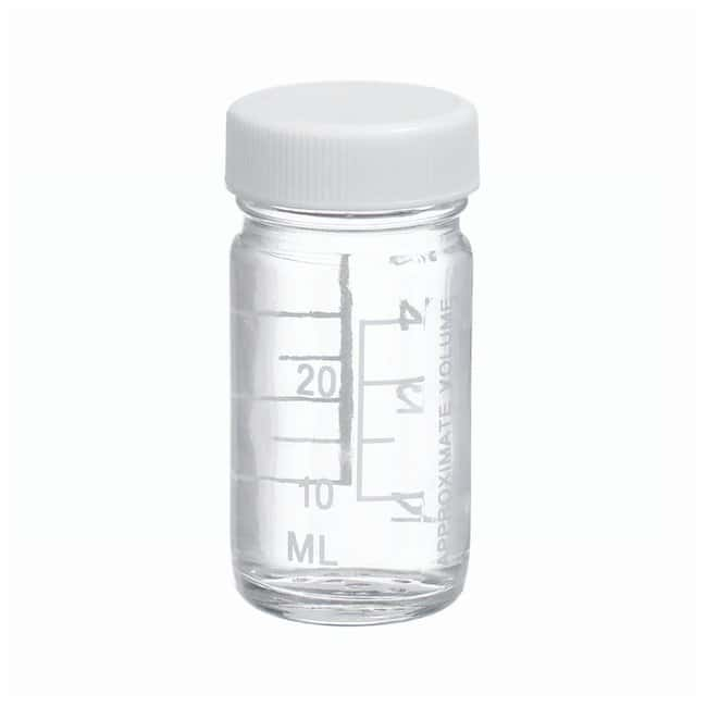 DWK Life Sciences Wheaton™ Graduated Valumetric™ Bottles: With White PP Cap With Polyvinyl Liner w/White polypropylene cap; w/Polyvinyl liner; Capacity: 1 oz.; 48/cs DWK Life Sciences Wheaton™ Graduated Valumetric™ Bottles: With White PP Cap With Polyvinyl Liner
