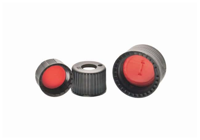 DWK Life Sciences Kimble™ Open-Top PolypropyleneScrew Thread Closures with Red PTFE-Faced Silicone Septa 9-425 GPI thread finish; Pre-slit septa; Black DWK Life Sciences Kimble™ Open-Top PolypropyleneScrew Thread Closures with Red PTFE-Faced Silicone Septa