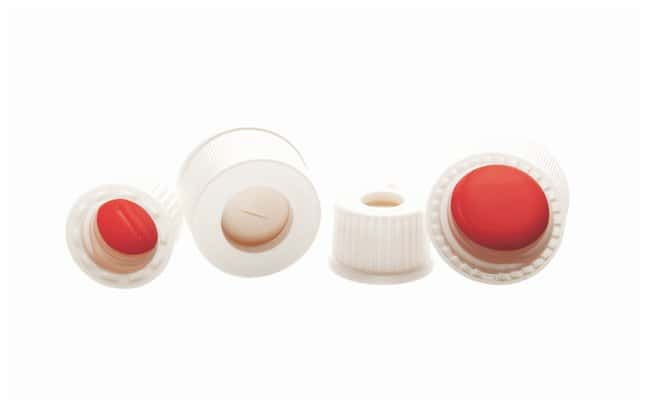 DWK Life Sciences Kimble™ Open-Top PolypropyleneScrew Thread Closures with Red PTFE-Faced Silicone Septa 8-425 GPI thread finish; Pre-slit septa; White DWK Life Sciences Kimble™ Open-Top PolypropyleneScrew Thread Closures with Red PTFE-Faced Silicone Septa