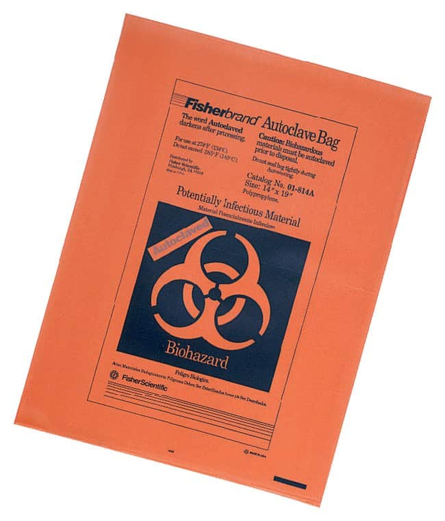 Fisherbrand Orange Autoclave Bags With Sterilization Indicator  Size: 14W