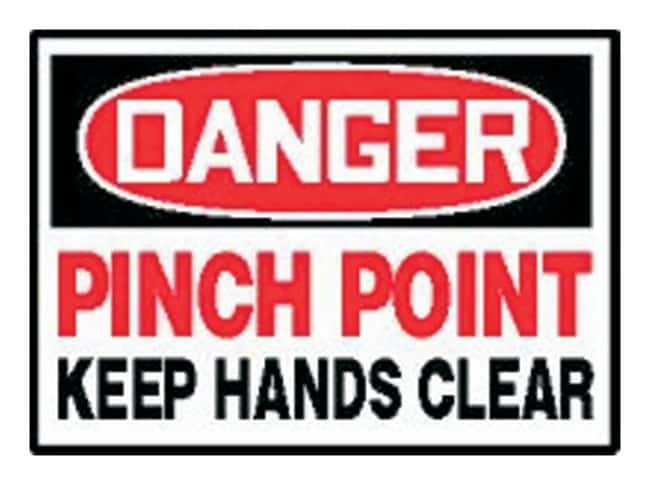 Pack of 5 3.5 Length x 5 Width x 0.004 Thickness LegendDanger Keep Hands Clear Red//Black on White Adhesive Vinyl Accuform Signs LEQM279VSP Safety Label