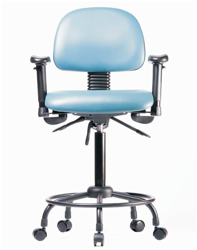 Fisherbrand Vinyl Chair - Medium Bench Height with Round Tube Base, Adjustable