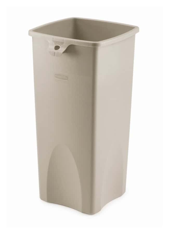 Rubbermaid Untouchable Square Trash Cans Containers; 23 gal.; Beige:Gloves,