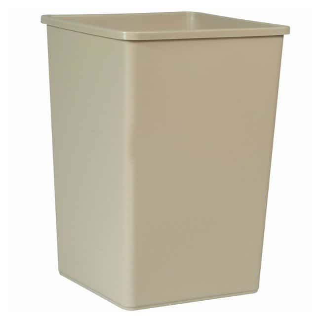 Rubbermaid Untouchable Square Trash Cans Containers; 35 gal.; Beige:Gloves,