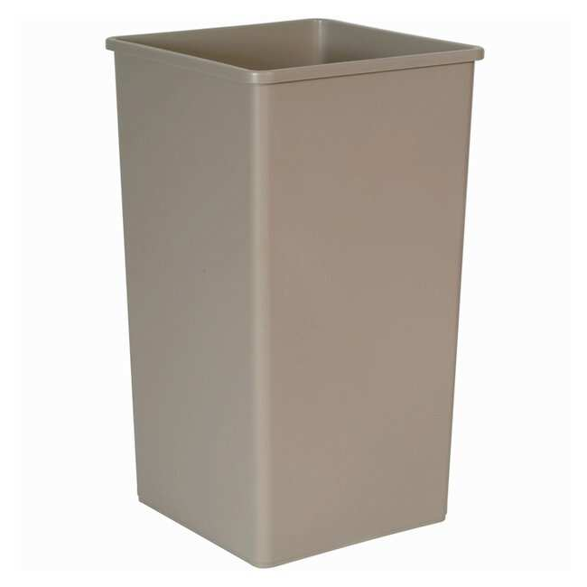 Rubbermaid Untouchable Square Trash Cans Containers; 50 gal.; Beige:Gloves,