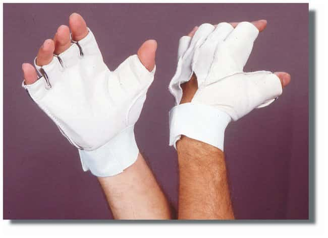 Steel Grip Leather Hand Guards 2.5 oz.; Thumb/palm shock pad; Medium:Gloves,