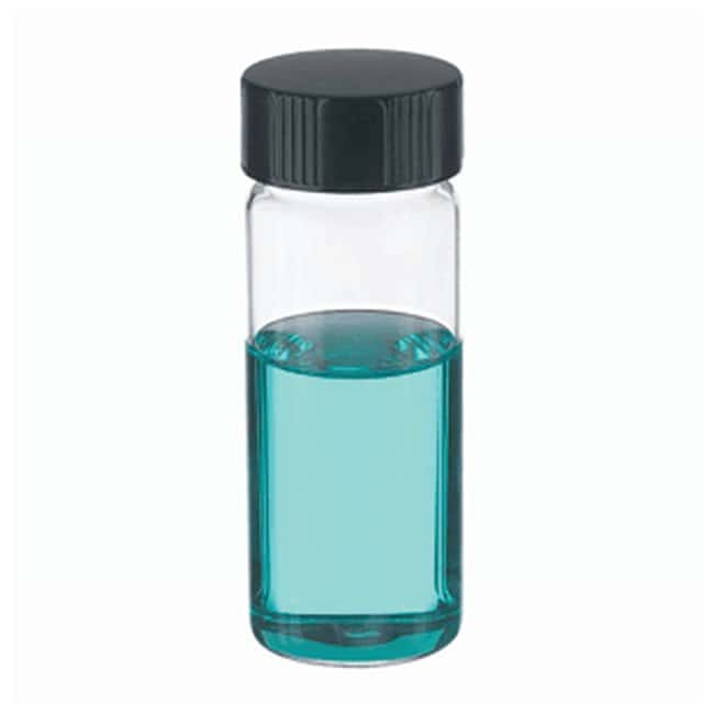 DWK Life Sciences Wheaton™ Clear Glass Sample Vials in Lab File With Caps Attached With caps; 25mL; Clear; 14B Rubber; 24-400; 28 x 73mm DWK Life Sciences Wheaton™ Clear Glass Sample Vials in Lab File With Caps Attached