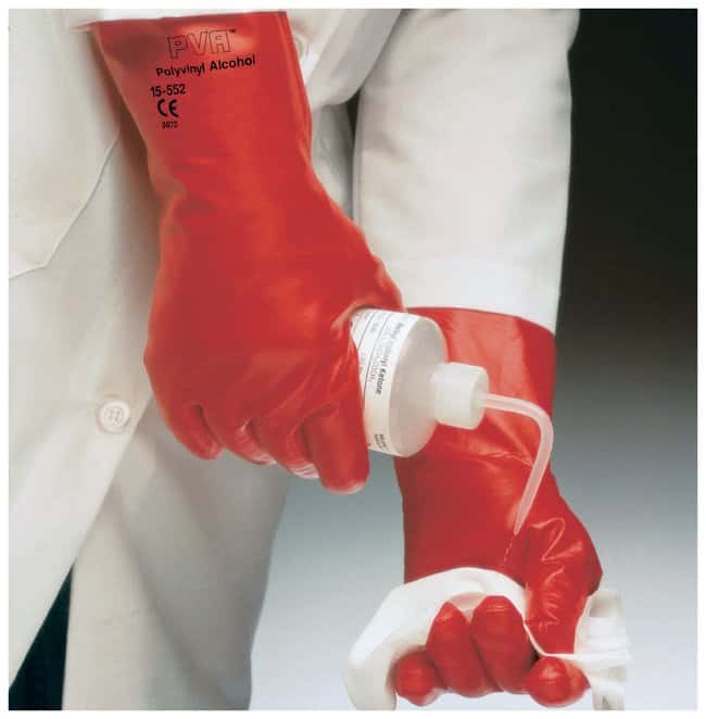 Ansell™ PVA™ 15-554 Series Red Polyvinyl Alcohol Immersion Gloves Size: 9; 14 in. (35.6cm) Products
