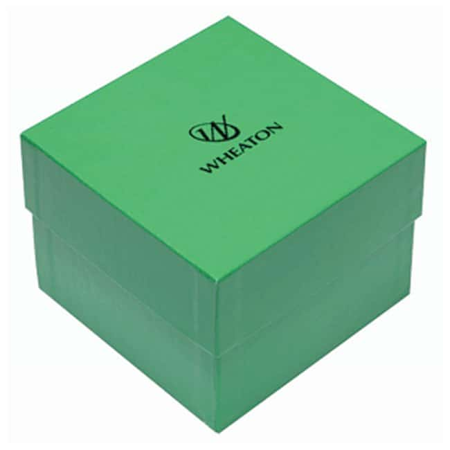 DWK Life Sciences Wheaton™ CryoFile™ and CryoFile XL™ Storage Boxes For 3,4 and 5mL vials; Green; 130L × 130W × 97mm H DWK Life Sciences Wheaton™ CryoFile™ and CryoFile XL™ Storage Boxes