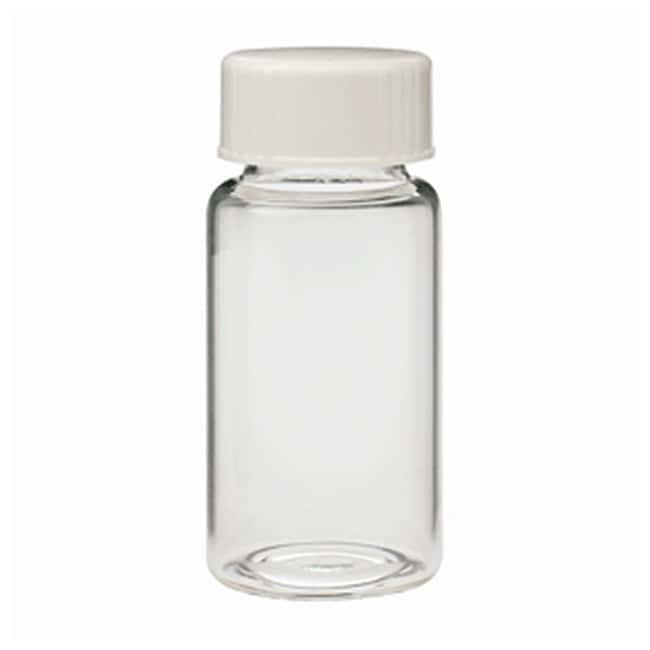 DWK Life Sciences Wheaton™ Glass 20mL Scintillation Vials and Urea Caps Urea 22-400 screw cap; Metal foil/Cork cap liner; With screw caps attached to vials DWK Life Sciences Wheaton™ Glass 20mL Scintillation Vials and Urea Caps