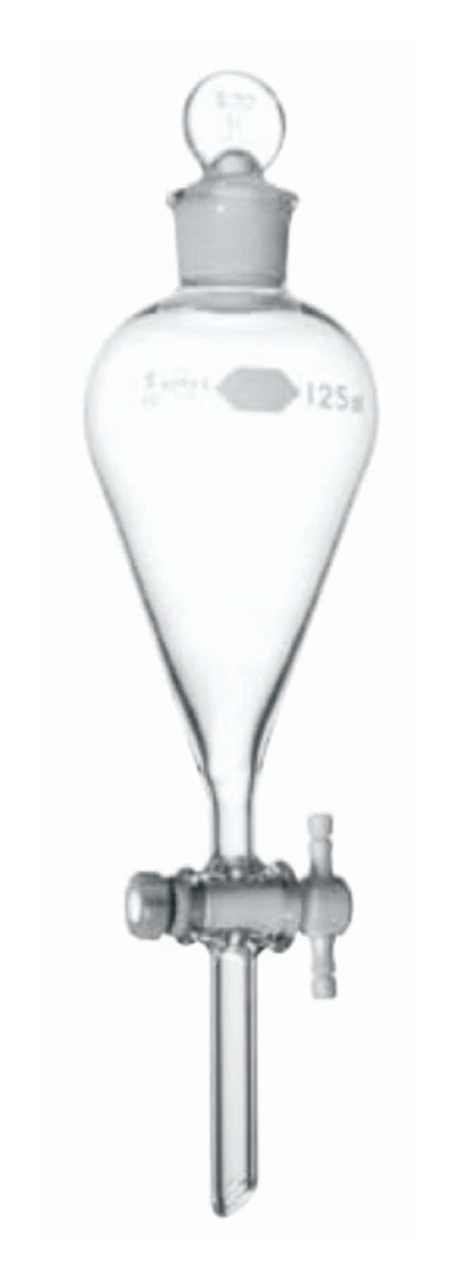 DWK Life Sciences Kimble™ Kontes™ Squibb Pear-Shaped Separatory Funnels with standard taper Stopper and Autoclavable PTFE Stockcock Plug