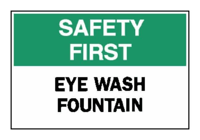 "Brady™""Safety First"" Eye Wash Fountain Sign"