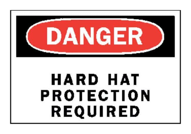Brady Danger: Hard Hat Protection Required Signs W x H: 35.5 x 25.4cm (14