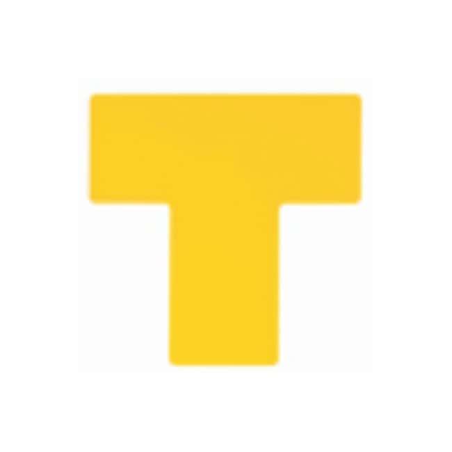 "Brady™ToughStripe™ Floor Marking Divider Marks ToughStripe Floor Marking Divider Marks; Yellow; Size: 4 x 10 in.; Shape: ""T"" Brady™ToughStripe™ Floor Marking Divider Marks"