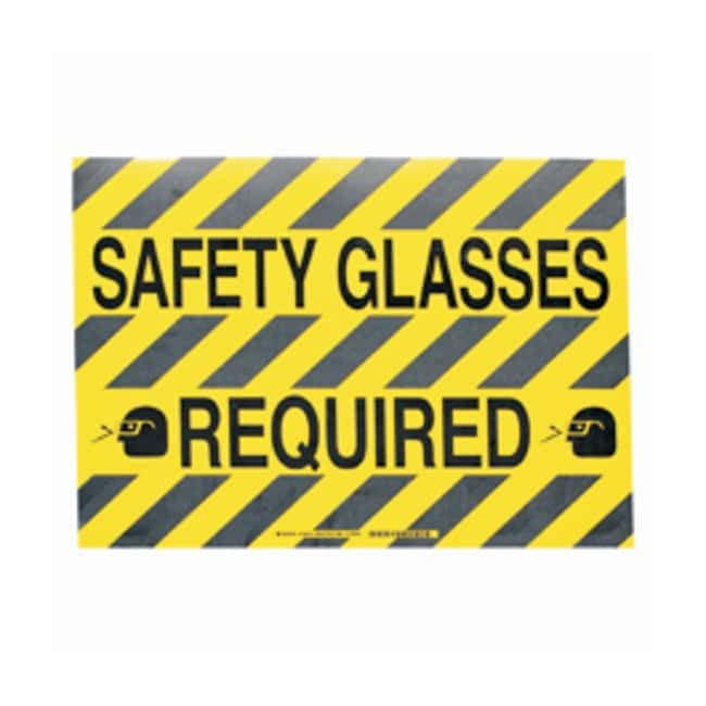 Brady™ ToughStripe™ Anti-Slip Floor Safety Sign Legend: SAFETY GLASSES REQUIRED Brady™ ToughStripe™ Anti-Slip Floor Safety Sign