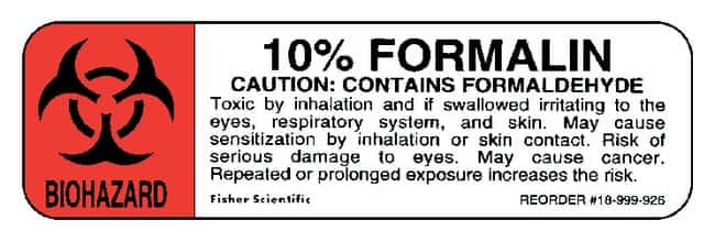 Fisherbrand 10% Formalin Labels :Gloves, Glasses and Safety:Facility Maintenance