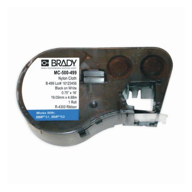 Brady™Label Maker Cartridge: Nylon Cloth Nylon cloth; Color: black on white; Size: 4.88m W x 1.27cm H; Qty.: 1/cartridge Brady™Label Maker Cartridge: Nylon Cloth