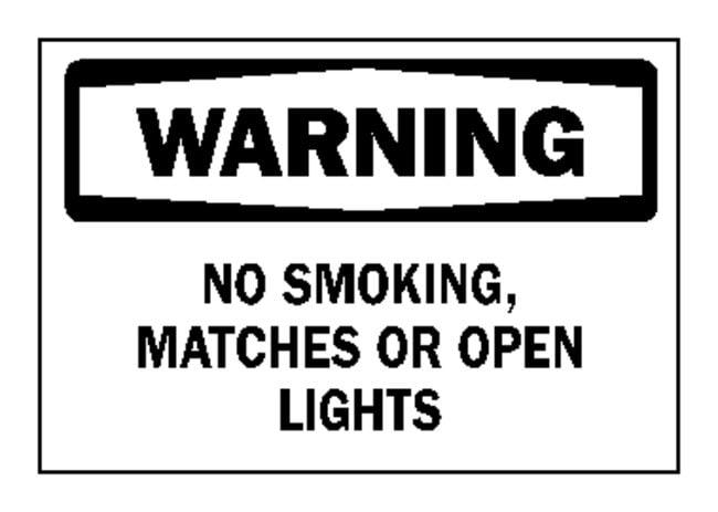 "Brady™""Warning: No Smoking, Matches..."" Signs"