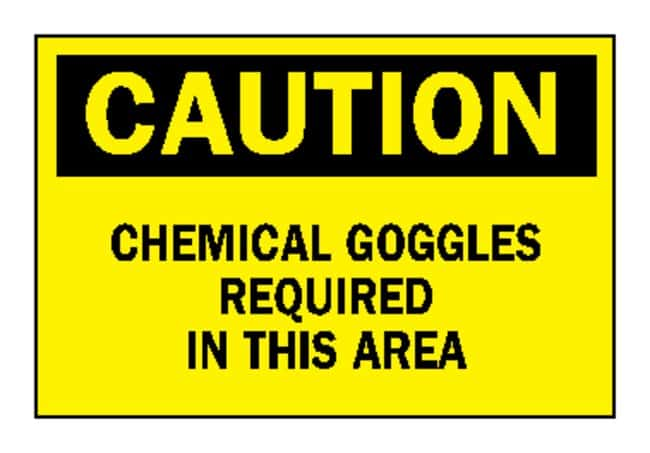 """Brady™""""Caution: Chemical Goggles Required…"""" Laboratory Signs"""