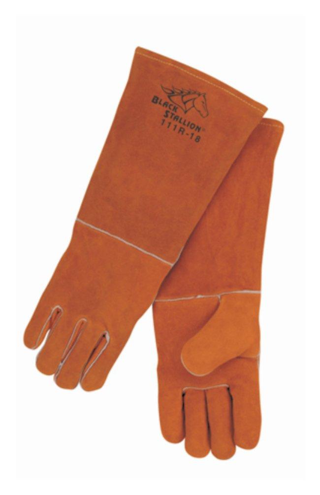 Black Stallion Standard Split Cowhide Stick Welding Gloves Natural wing