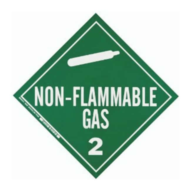 Brady Vehicle Placards NON-FLAMMABLE GAS 2 (w/Picto); Green on white:Gloves,