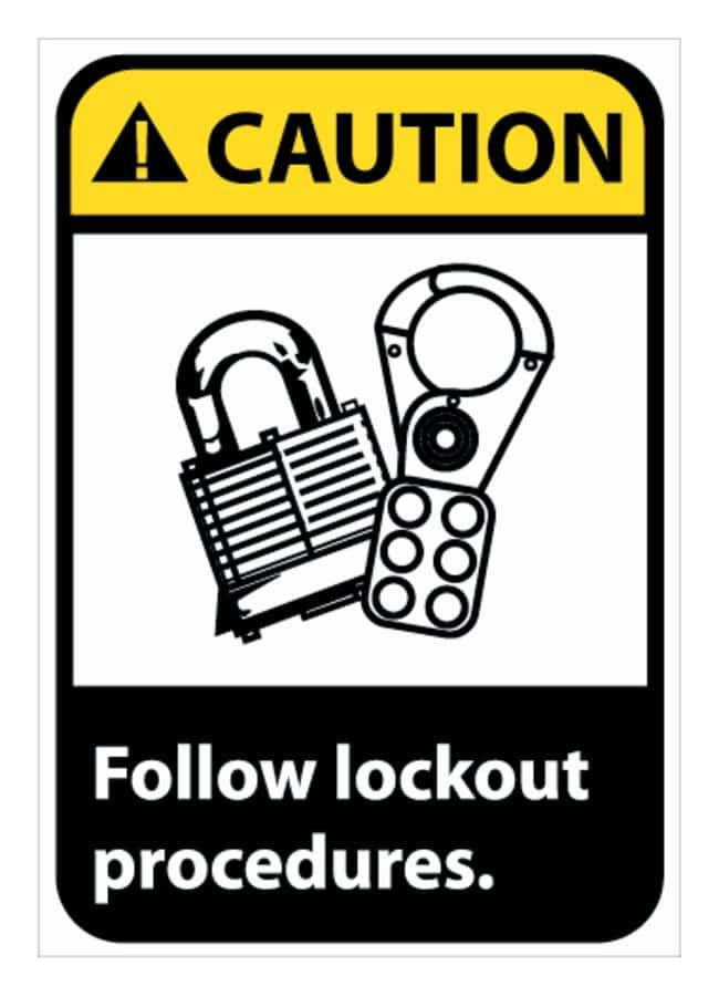 National Marker Caution: Follow Lock Out Procedures Signs 10 X 7; Rigid
